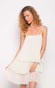 Strappy Pleated Layer Mini Dress in White by CY Boutique