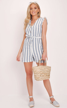 9f9fade65963 Blue Striped Button Through Playsuit White
