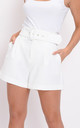High waisted belted tailored shorts white by LILY LULU FASHION