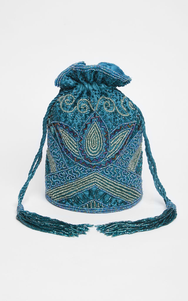 Beatrice Vintage Inspired Hand Embellished Bucket Bag in Teal by Gatsbylady London