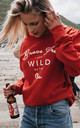 'Brave Free & Wild As The Sea' Sweatshirt in Red by ART DISCO