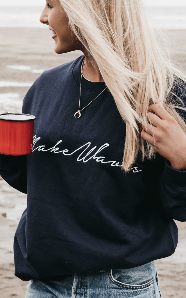 'Make Waves' Embroidered Sweatshirt in Navy Blue by ART DISCO