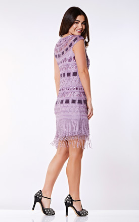 Beverley Vintage Inspired Fringe Flapper Dress in Lilac by Gatsbylady London