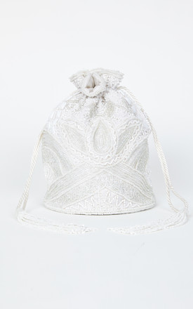 Beatrice Hand Embellished Bucket Bag in White by Gatsbylady London