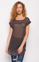 Longline Sheer T-Shirt with Short Sleeves in Brown Polka Dot by CY Boutique