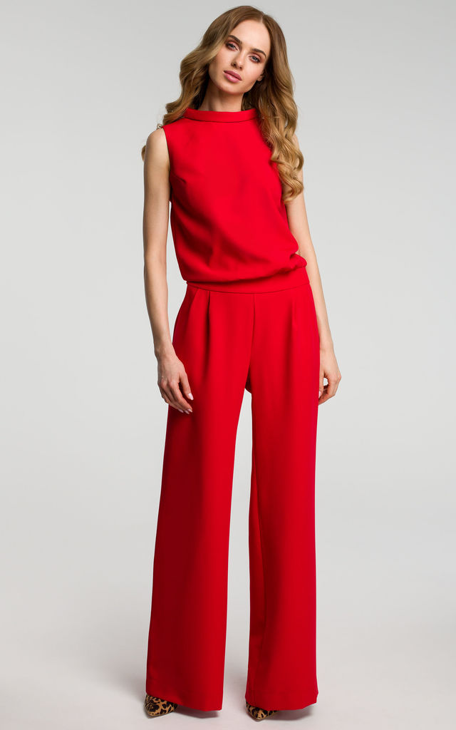 Red Open Back Wide Leg Jumpsuit by MOE