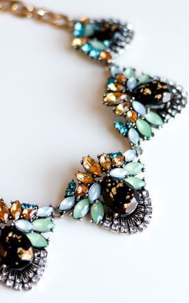 Black & Teal Statement Necklace by Free Spirits