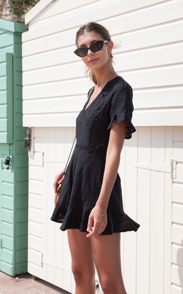 Black Broderie Frill Short Sleeve Playsuit by Styled In London