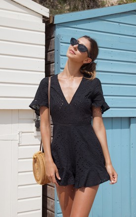 Black Broderie Anglaise Frill Short Sleeve Playsuit by Styled In London Product photo