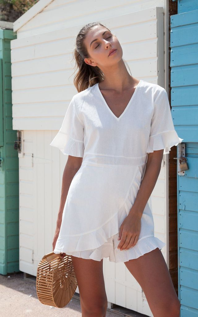White Linen Frill Short Sleeve Playsuit by Styled In London