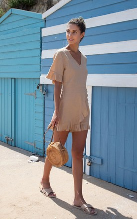 Tan Linen Frill Short Sleeve Playsuit by Styled In London