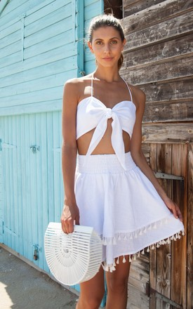 White Linen Tie Front Bralette by Styled In London Product photo