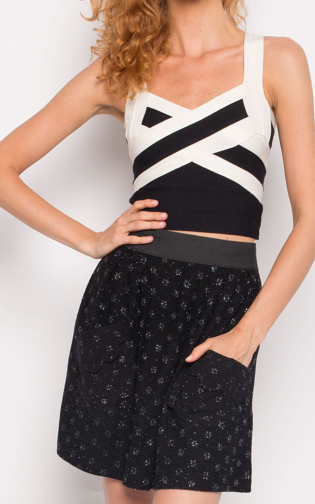 Floral Lace A-line Mini Skirt in Black by CY Boutique