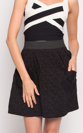 A-Line Floral Lace Mini Skirt in Black by CY Boutique