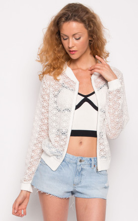 Black Floral Lace Crochet Light Bomber Jacket by CY Boutique