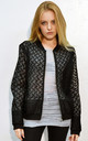 Light Embroidered Bomber Jacket in Black Floral Organza by CY Boutique