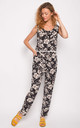 Black Floral Print Vest Top and Trousers Co-Ord by CY Boutique