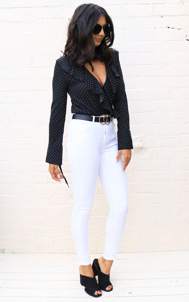 Ditsy Polka Dot Wrap Over Frill Long Sleeve Blouse Bodysuit in Black & White by One Nation Clothing