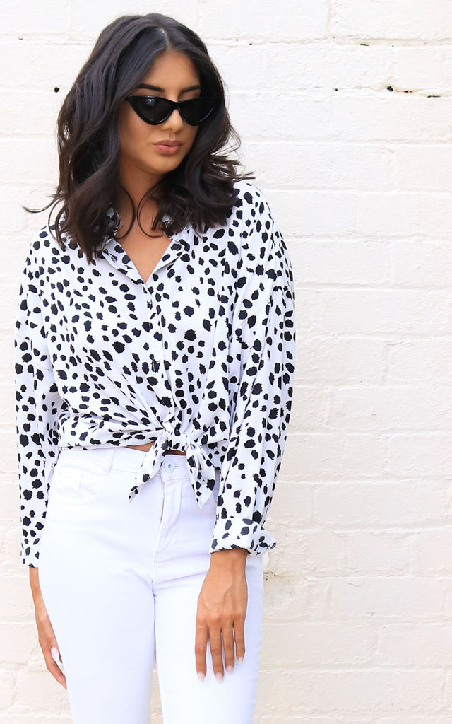 c1d47bb77ae Dalmatian Print Oversized Long Sleeve Button Down Shirt Blouse in White &  Black by One Nation
