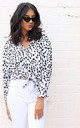 Dalmatian Print Oversized Long Sleeve Button Down Shirt Blouse in White & Black by One Nation Clothing