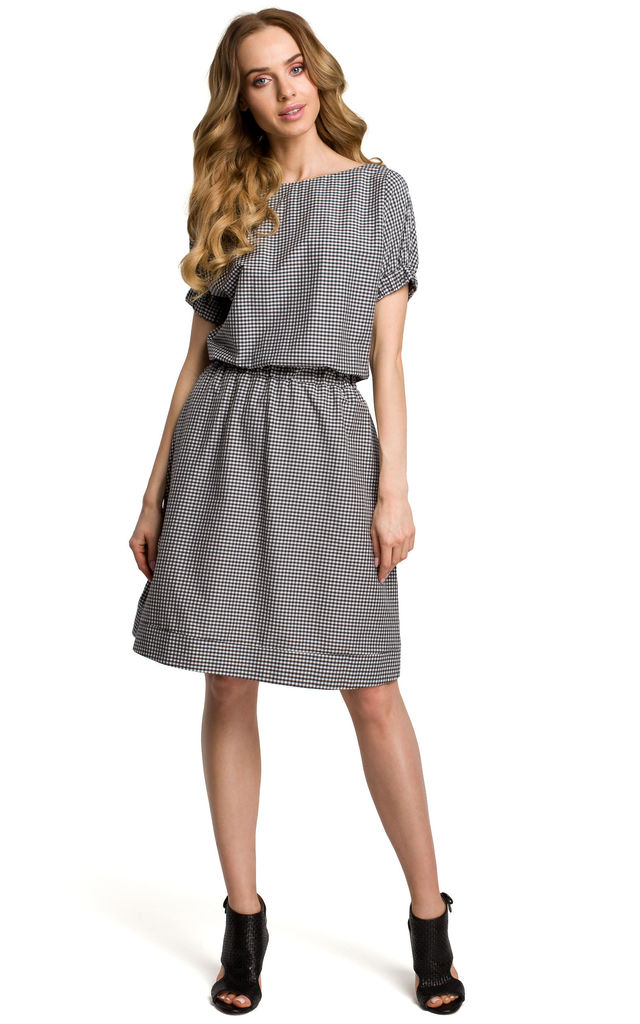Relaxed Fit Dress with Elasticated Waist in Black Gingham by MOE