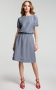 Relaxed Fit Dress with Elasticated Waist in Navy Gingham by MOE