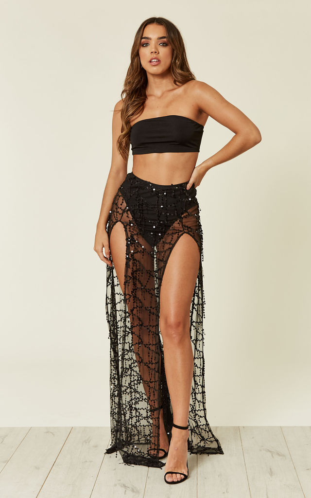 LATINA BLACK SHEER SEQUIN TASSEL DOUBLE SLIT SKIRT CO ORD SET by Nazz Collection
