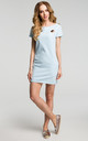 Light Blue Short Sleeve Mini Dress With Contrast Insert by MOE