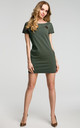 Green Short Sleeve Mini Dress With Contrast Insert by MOE