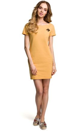 Yellow Short Sleeve Mini Dress With Contrast Insert by MOE