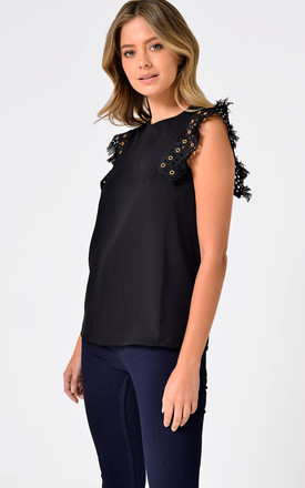 Amelia Sleeveles Top with Fringe Detail in Black by Marc Angelo