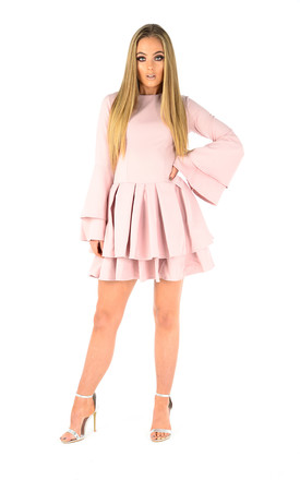 Lola blush pink tiered mini dress by The Cult Boutique