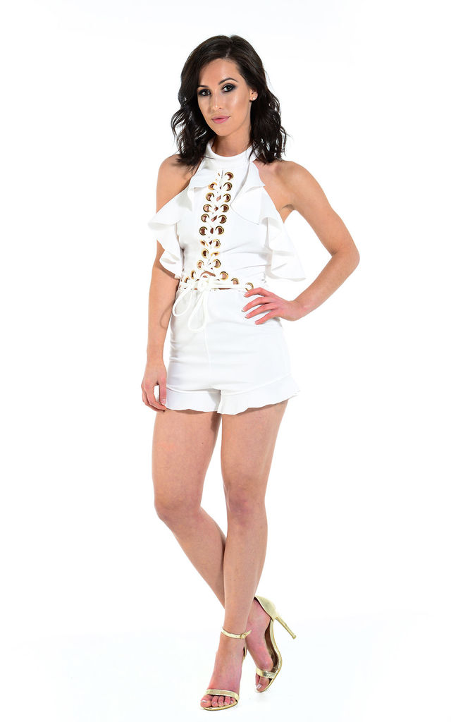 Danielle white metal ring playsuit by The Cult Boutique