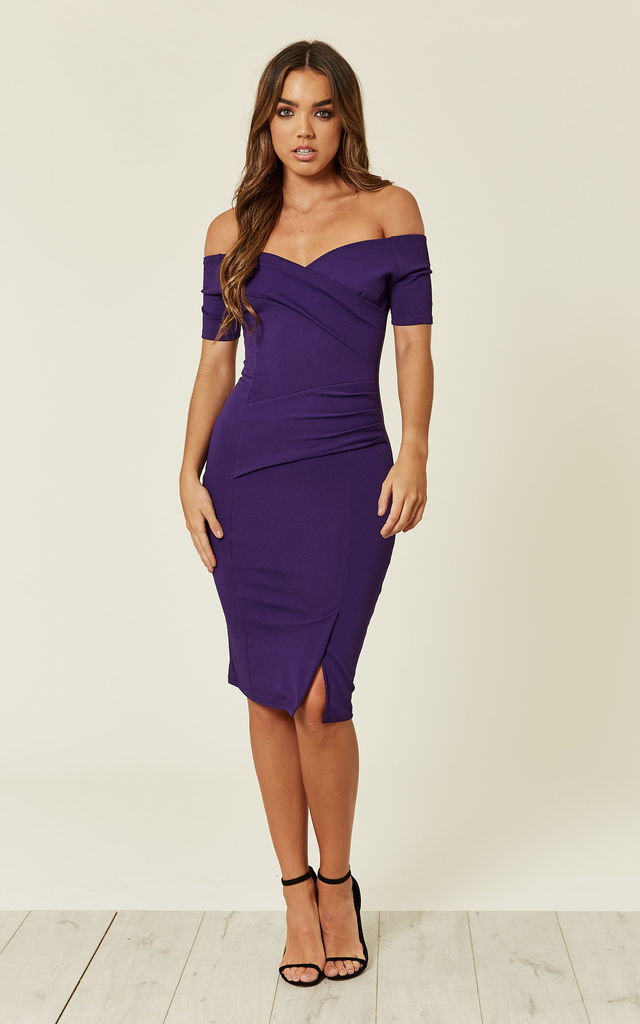 689a3301b4be Bardot Off Shoulder Dress Purple by Feverfish