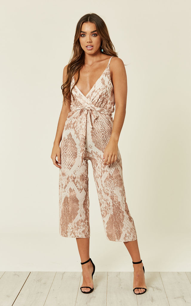 Snakeskin Printed Crepe Wrap Culotte Jumpsuit by MISSI LONDON