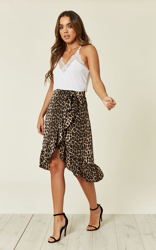 Leopard Print Frill Wrap Skirt by MISSI LONDON