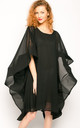 Party Dress with Oversized Statement Sleeves in Black by CY Boutique