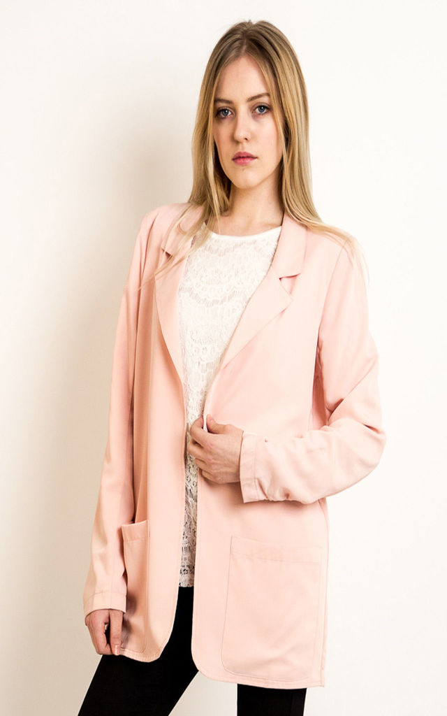 Long Sleeve Blazer with Pockets in Pink by CY Boutique