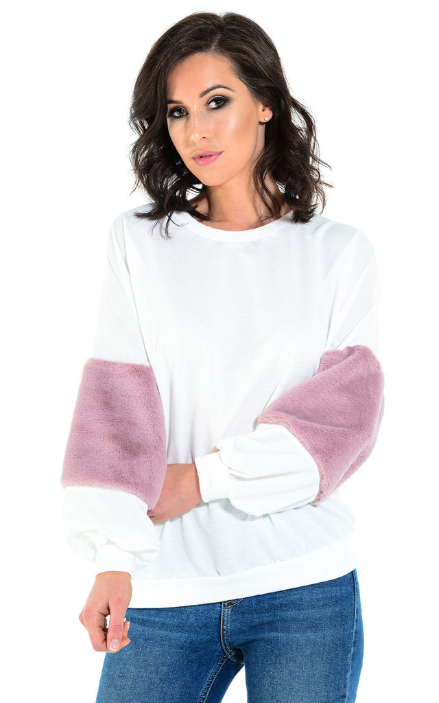 Bunny white and pink faux fur sleeve jumper by The Cult Boutique