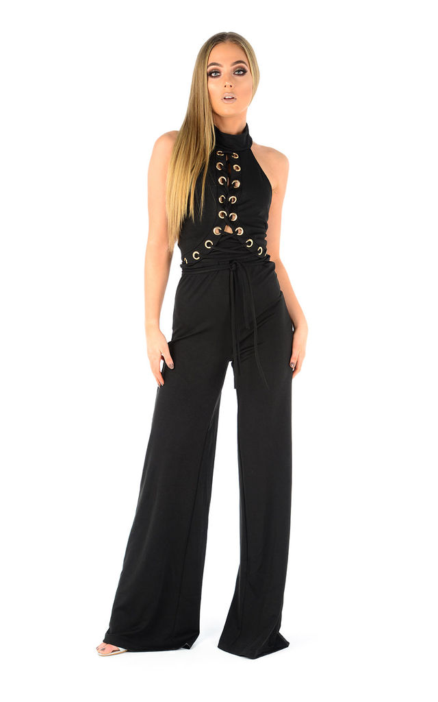 Lindsay black metal ring jumpsuit by The Cult Boutique