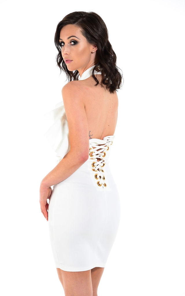 Danni white halter mini dress by The Cult Boutique