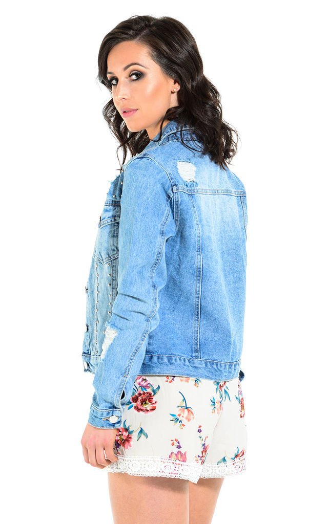 Talia studded denim jacket by The Cult Boutique