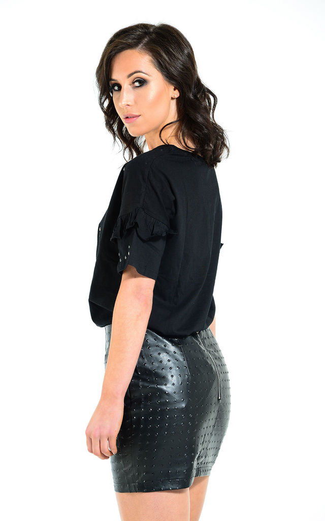 Bella faux leather stud skirt by The Cult Boutique