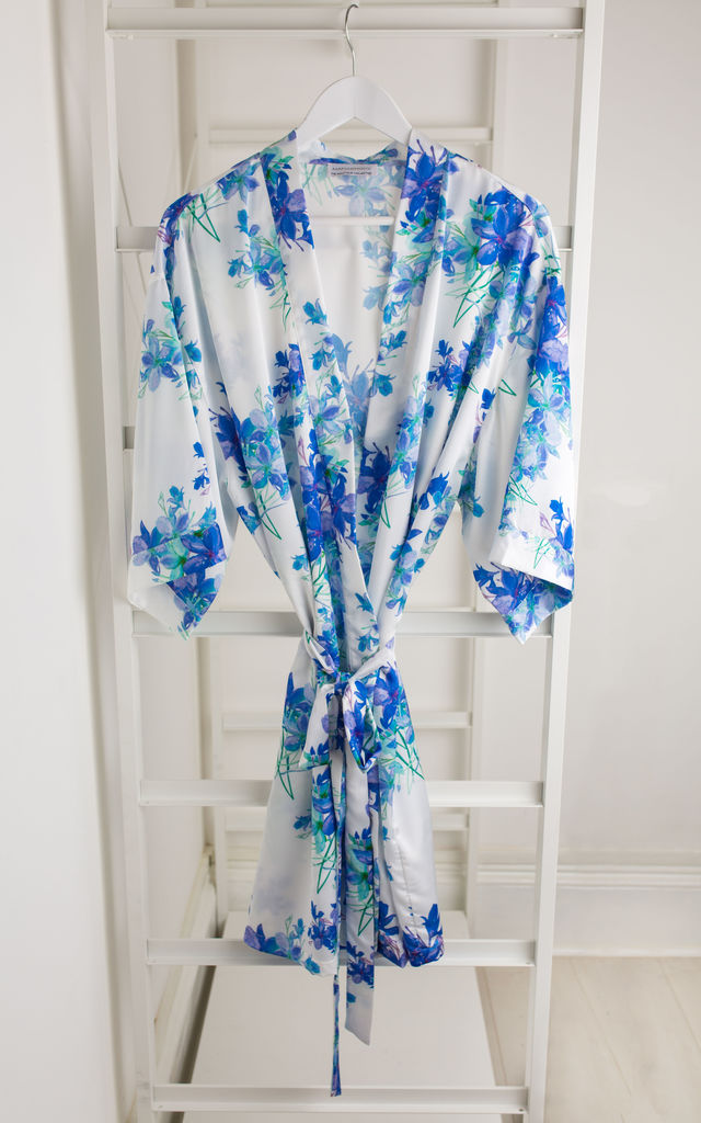 Blue Floral Bridesmaid / Bride / Hen Dressing Gown by Matchimony