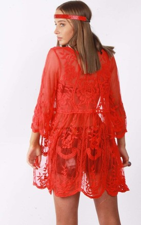 Red Floral Sheer Tie Front Scallop Embroidered Lace Kimono (Variant) by Urban Mist