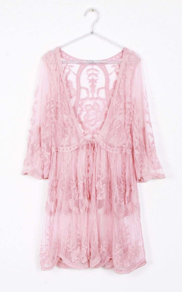 Nude Pink Floral Sheer Tie Front Scallop Embroidered Lace Kimono (Variant) by Urban Mist