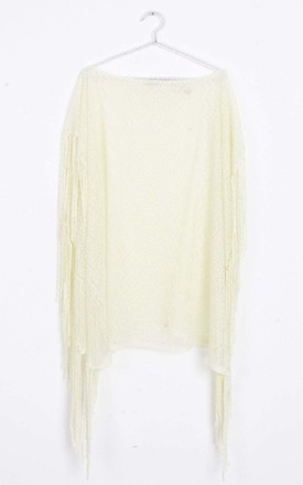 Cream Sheer Lace Tassel Kaftan Top Cover Up by Urban Mist