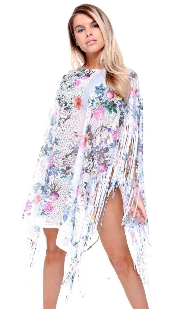 White Flower Lace Tassel Holiday Kaftan by Urban Mist