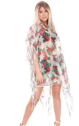 Lime Multi Colour Flower Lace Tassel Holiday Kaftan (Variant) by Urban Mist