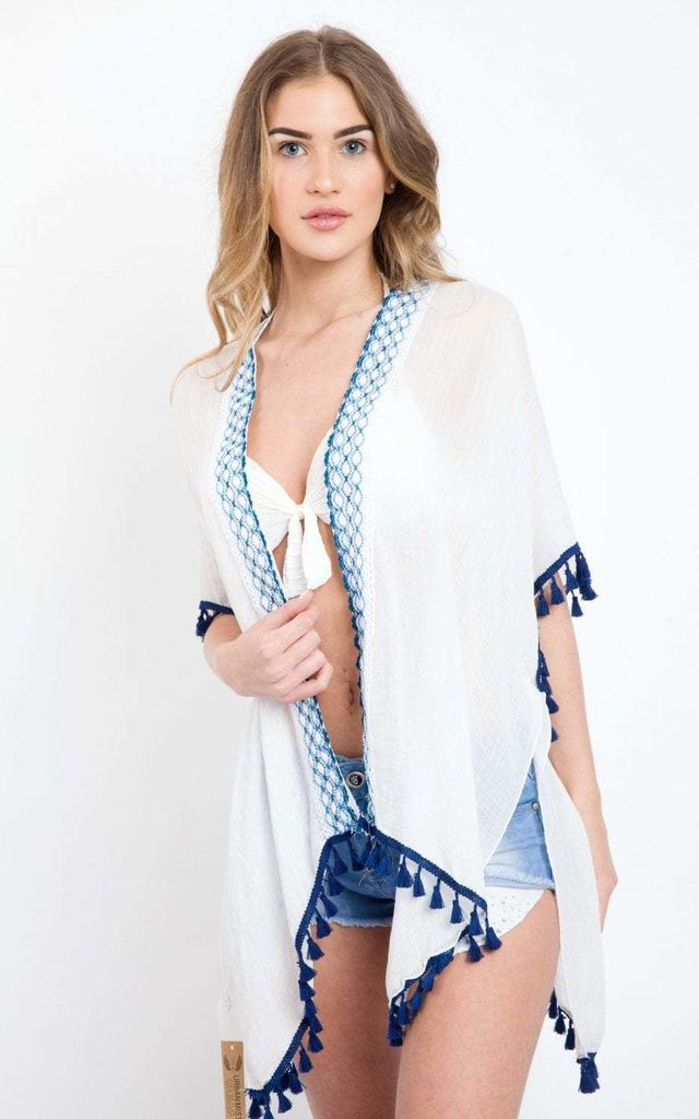 White  Embroidered Open Front Tassel Kimono by Urban Mist